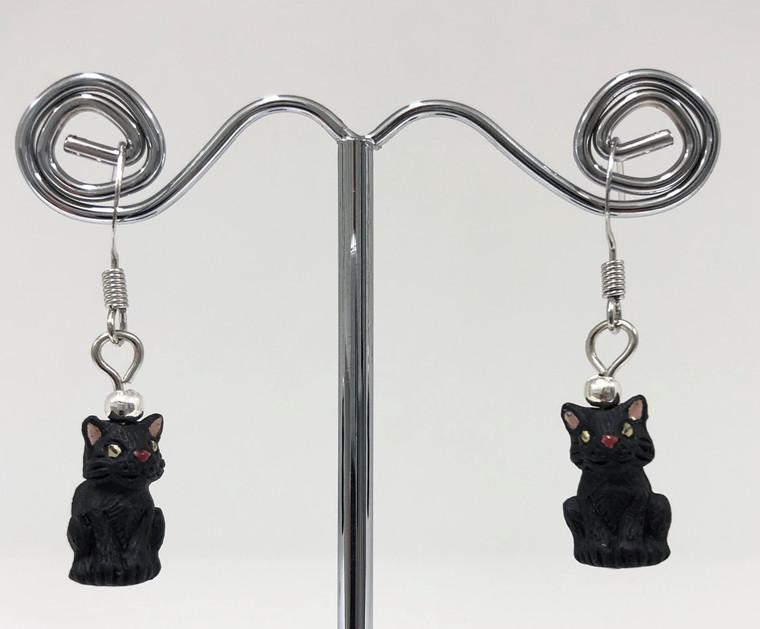 Earrings - Black Cat