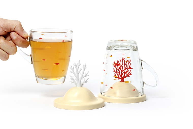 Coral Bleaching Glass Mug & Lid Cover Set (White)