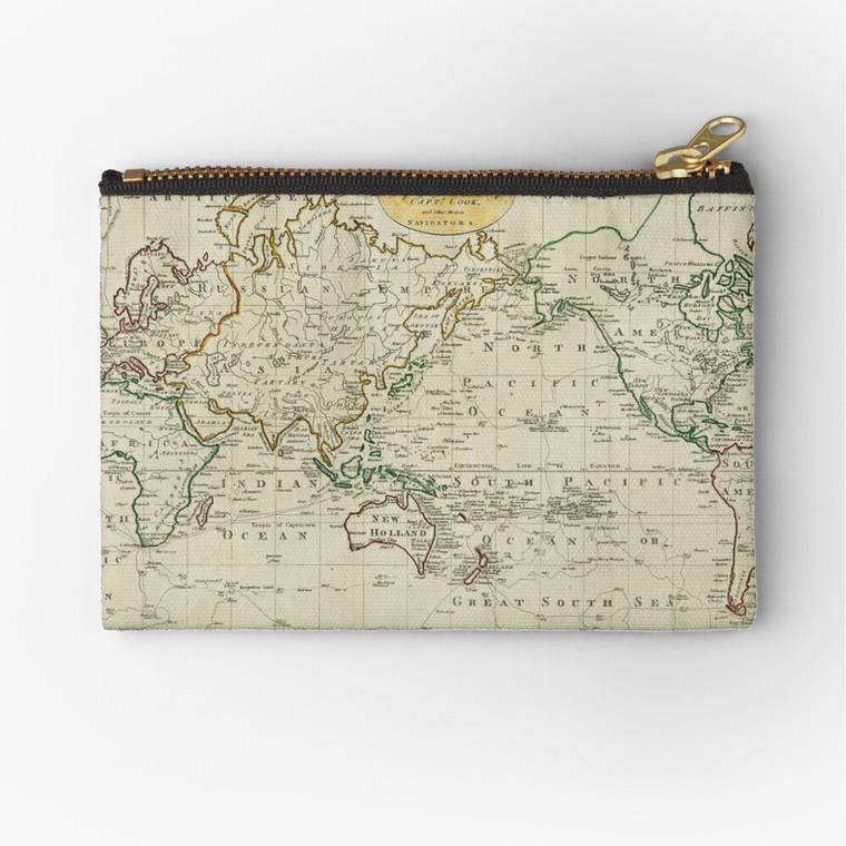 Pencil / Toiletries / Makeup Case - Captain James Cook's Map (4490)