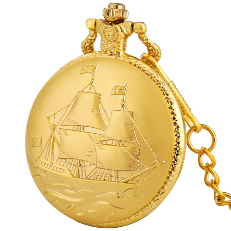 Pocket Watch - Gold Tall Ship (8448)