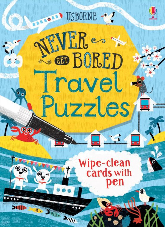 Never Get Bored Travel Puzzles - Wipe-clean cards with Pen (5717)