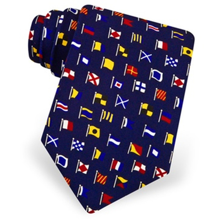 Silk Tie - International Code Flags (Navy) (8183)