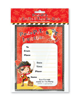Pack of 10 Pirate Party Invites and Thank You Card with Envelope