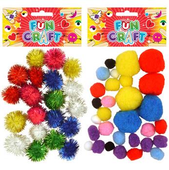 12 Packs of Craft Kit Pom Poms 2 Astd