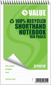 """160 recycled pages 5x8"""" Value Shorthand Spiral Notepad"""