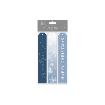 12 Long Luggage Glitter and Foil Text Gift Tags