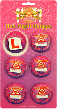 BADGE HEN NIGHT 5.7CM (6 Assorted)