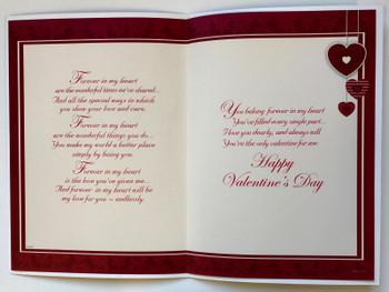 Boyfriend - Sentimental Verse Morden Gold & Red Love Heart Valentine's Day New Card