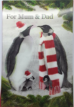 3D Holographic Up Close PENGUINS MUM AND DAD Merry Christmas Greeting Card