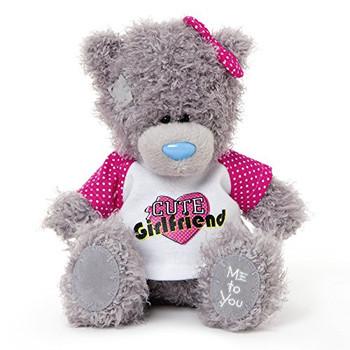 Me to You 6-inch Tatty Teddy Bear Wearing a Cute Girlfriend T-Shirt (Grey)
