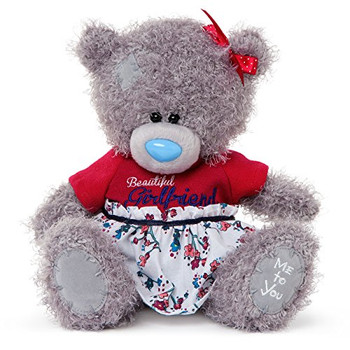 Me to You 7-inch Tatty Teddy Bear Wearing a Beautiful Girlfriend Dress (Grey)