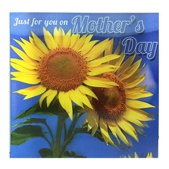 3D Holographic Just for you on Mother's Day BEAUTIFUL BRIGHT COLOURFUL SUNFLOWERS Mother's Day Greetings Card