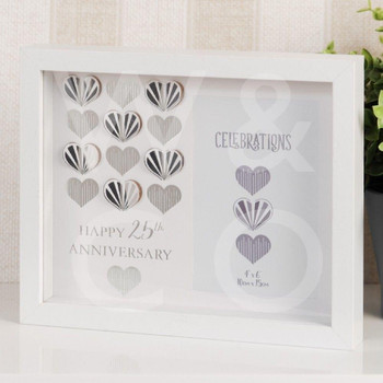 Celebrations White Wall Photo Frame - 25th Anniversary Silver