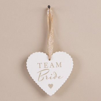 Amore Heart Tag 'Team Bride' Wedding Favour Table Setting Gift
