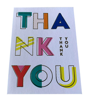 Pack of 10 Mutli Coloured Thank You Cards with Silver Foil Finish