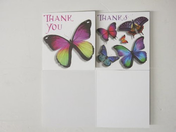Simon Elvin open thank you cards - twin design pack - 8 cards with envelopes - butterfly butterflies design
