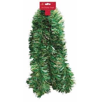 2m Christmas Green and Gold Chunky Decoration Tinsel