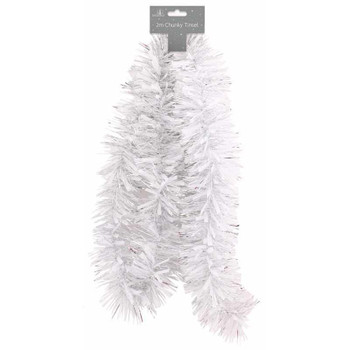 2m Christmas White and Silver Chunky Decoration Tinsel
