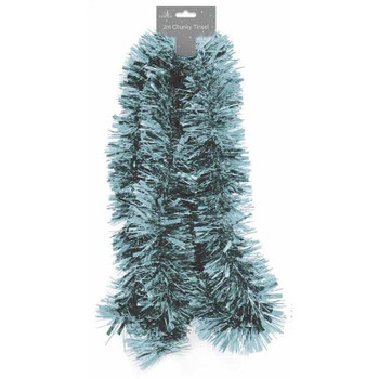 2m Christmas Pale Blue Chunky Decoration Tinsel