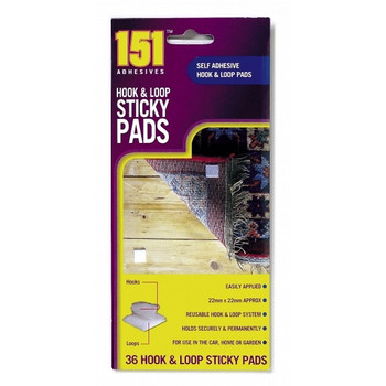 Pack of 36 Hook & Loop Sticky Pads