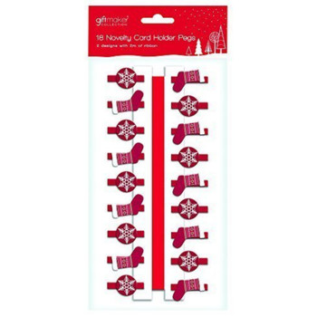 18 x Wooden Novelty Red Snowflake & Stocking Christmas Card Holder Pegs & 2 Metres of Ribbon