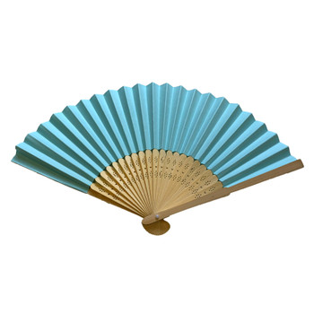 Light Blue Paper Hand Held Bamboo and Wooden Fan