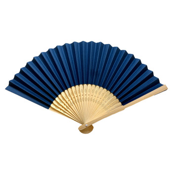 Dark Blue Paper Hand Held Bamboo and Wooden Fan