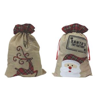 Christmas Tartan Hessian Santa & Rudolph Sack