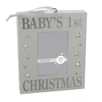 Baby's 1st Christmas Photo Frame Silver Sparkle Light Up Wall Plaque