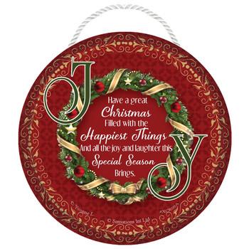 Joy Wreath Christmas Hanging Plaque