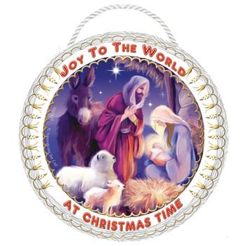 Joy to the World Nativity Christmas Hanging Plaque