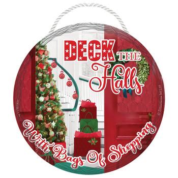 Deck the Halls Round Christmas Hanging Plaque
