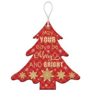 Merry & Bright Christmas Tree Hanging Plaque