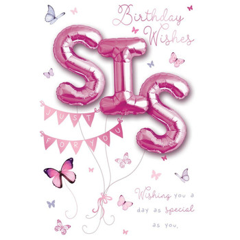 Birthday Wishes Sis Balloon Boutique Greeting Card
