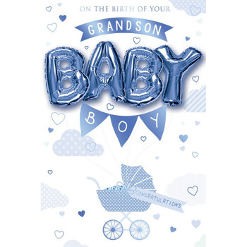 On the birth of your Grandson Balloon Boutique Greeting Card