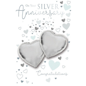 On Your Silver Anniversary Congratulations Balloon Boutique Greeting Card