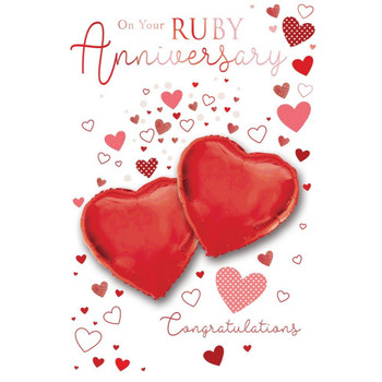 On your Ruby Anniversary Congratulations Balloon Boutique Greeting Card