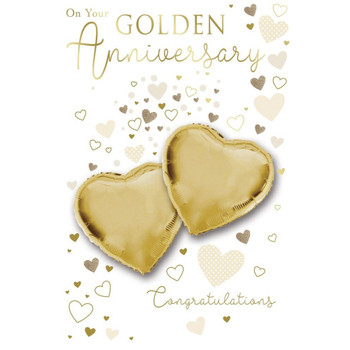 On Your Golden Anniversary Congratulations Balloon Boutique Greeting Card