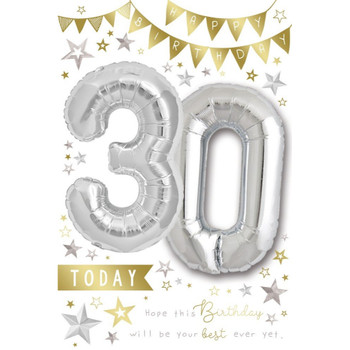 Age 30 today Balloon Boutique Greeting Card