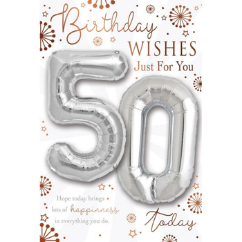 Age 50 today Balloon Boutique Greeting Card