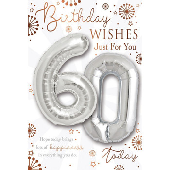 Age 60 today Balloon Boutique Greeting Card
