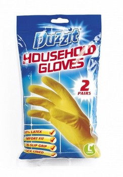 2 Pairs of Duzzit Household Gloves Large