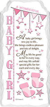 A Wonderful Baby Girl Sentimental Handcrafted Ceramic Plaque