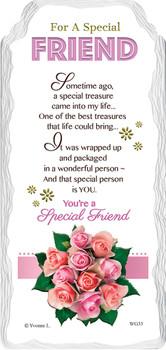 For a Special Friend Flower Design Sentimental Handcrafted Ceramic Plaque