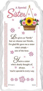 A Special Sister Flower Design Sentimental Handcrafted Ceramic Plaque