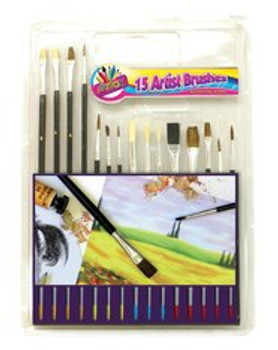 15 Pc wooden handle Paint Brushes