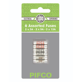 Pack of 6 Assorted Mains Fuses 3Amp 5Amp 13Amp by Pifco