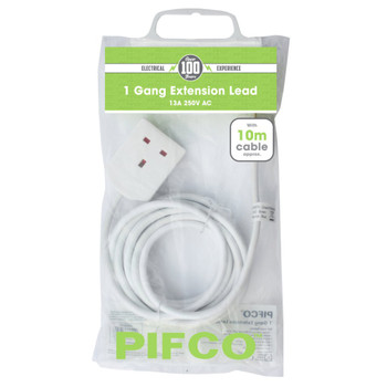 1 Gang 13Amp 250V A.C Plug Socket with 10 Metre Extension by Pifco