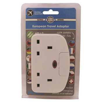 European Travel Adaptor with 2 USB Ports by Pifco