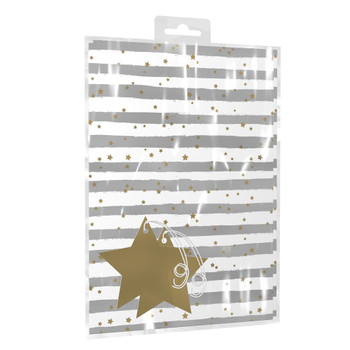 Silver Stripes With Gold Stars Design Gift Wrapping Paper